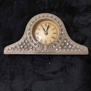 Silver Mantle Clock with Crystals